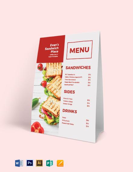 Sandwich- Sub Table Tent Menu Template