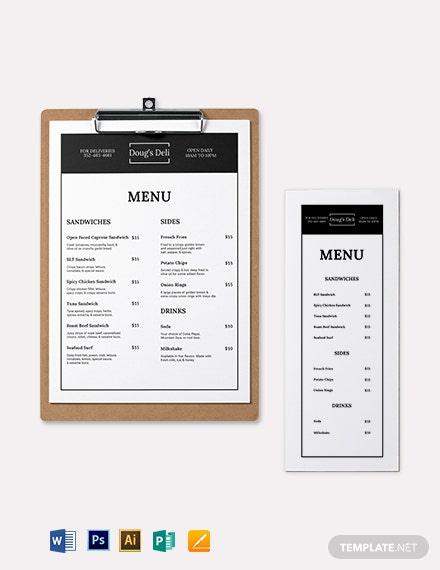 download simple sandwich  sub menu template