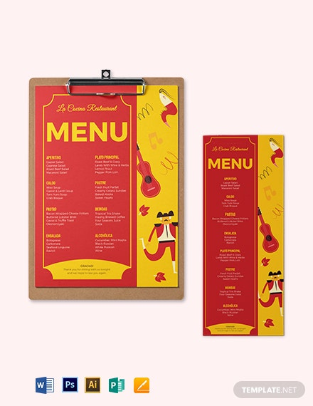 download spanish dinner menu template