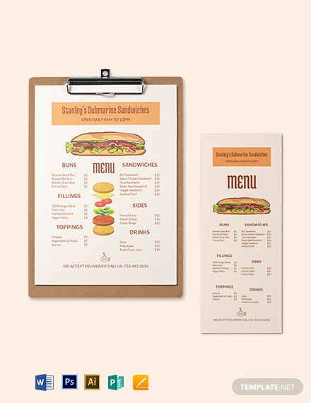 download submarine sandwich  sub menu template