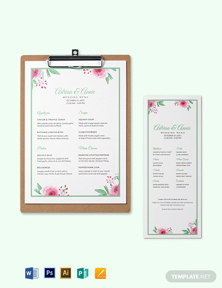 Thankyou Wedding Menu Template