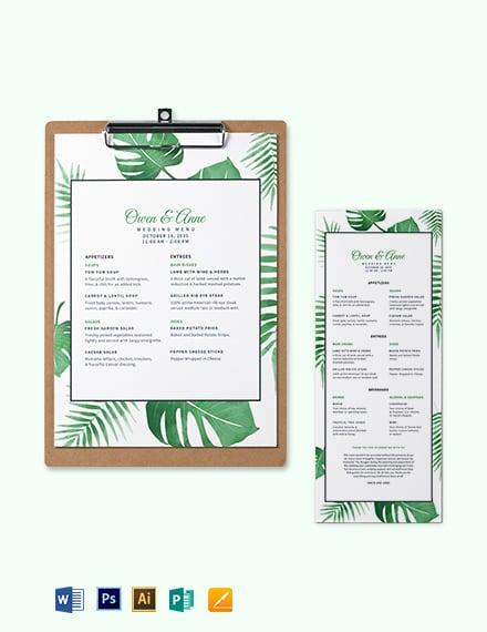 Tropical Wedding Menu Template