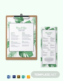 Tropical Wedding Menu Template