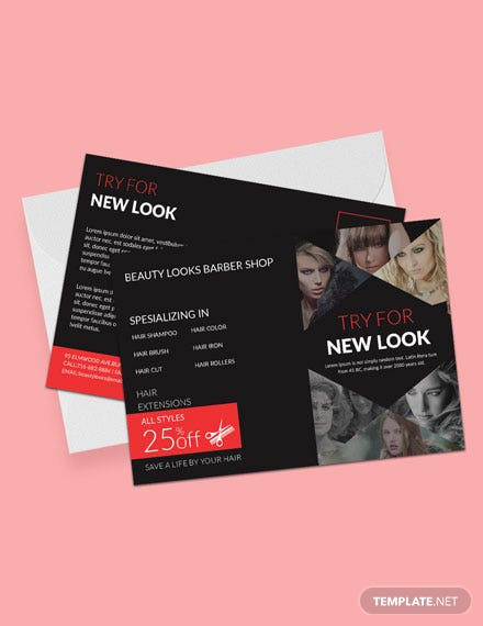 Free Barbershop Postcard Template
