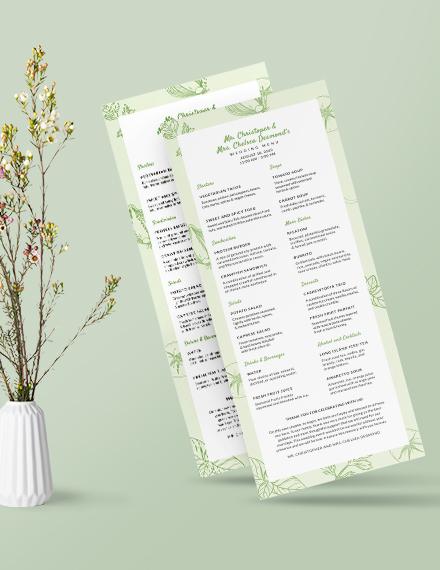 Sample Vegetarian Wedding Menu