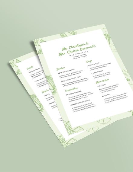Vegetarian Wedding Menu Download