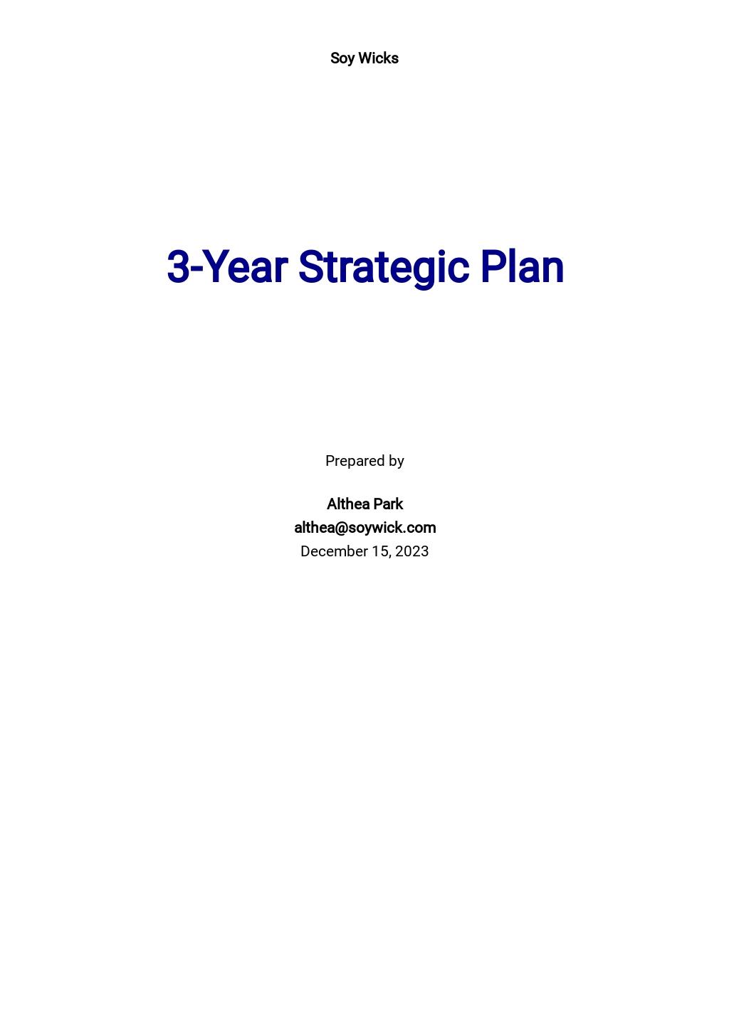 3 Year Strategic Plan Template