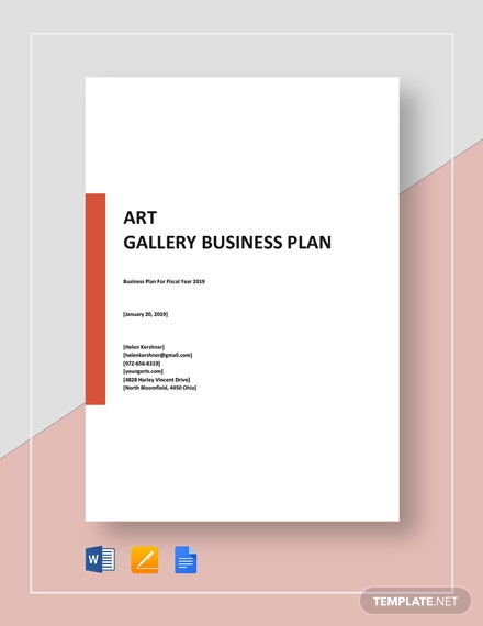 Art Gallery Business Plan Template Word Google Docs