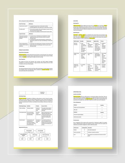 Auto Loan Business Plan Download