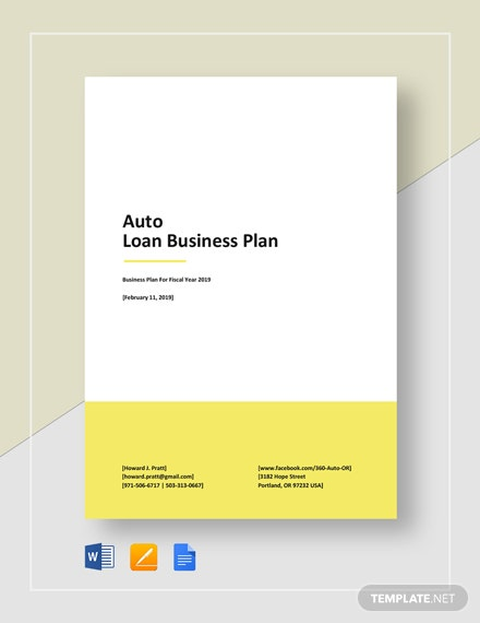 Auto Loan Business Plan Template