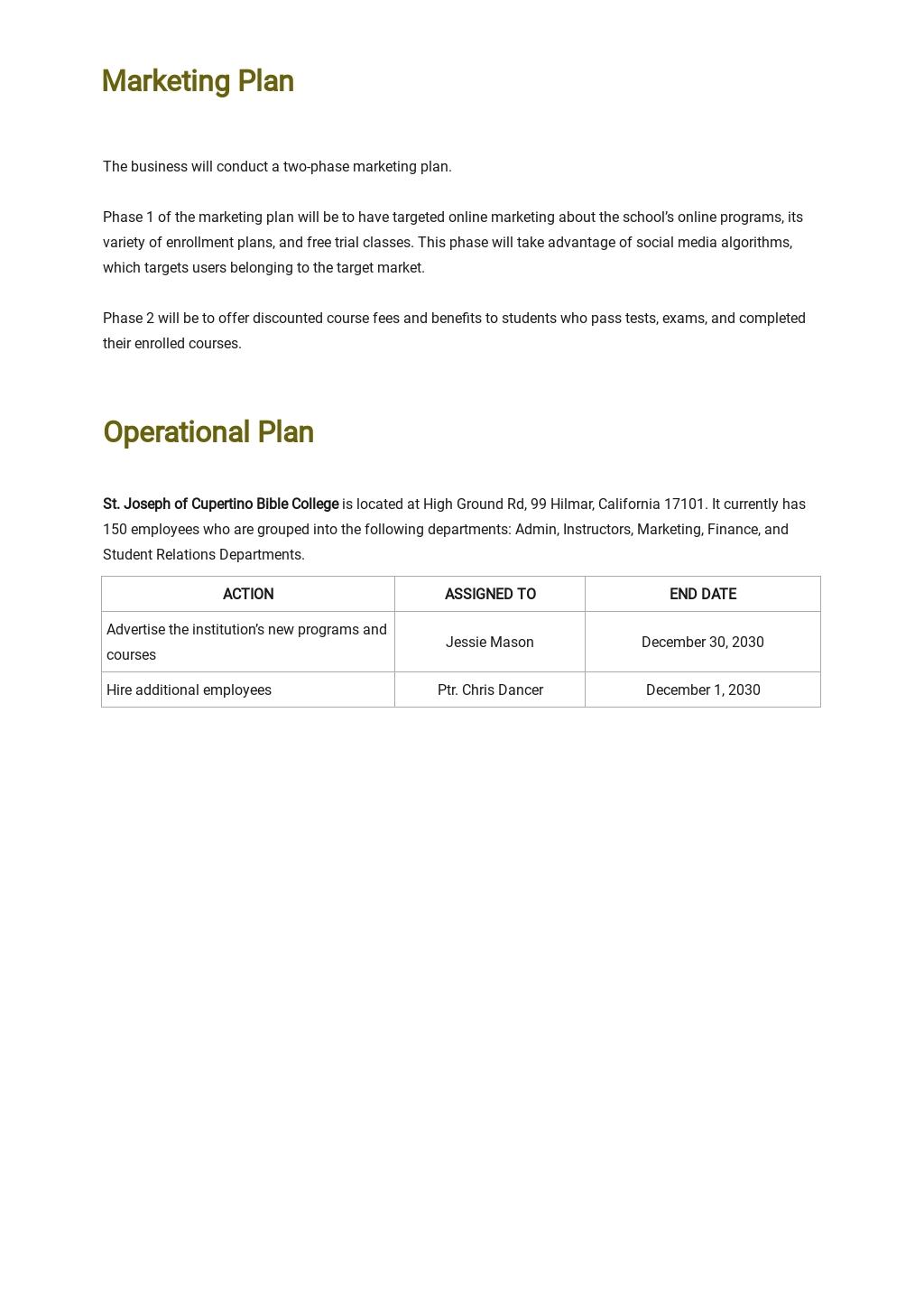 Bible School Business Plan Template 4.jpe