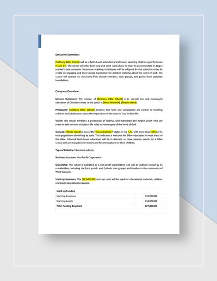 Bible School Business Plan Download