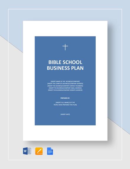 Bible School Business Plan Template