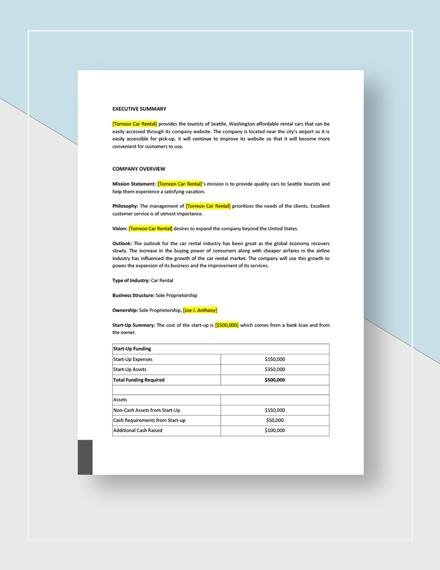 Bike or Car Rental Marketing Plan Download