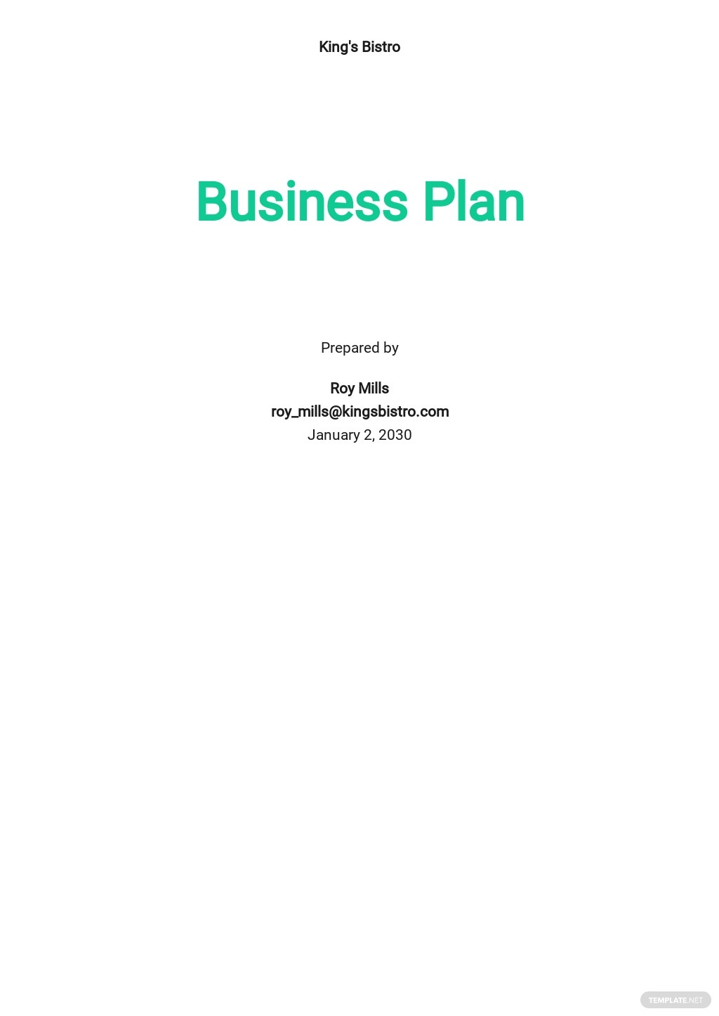 Bistro Business Plan Template
