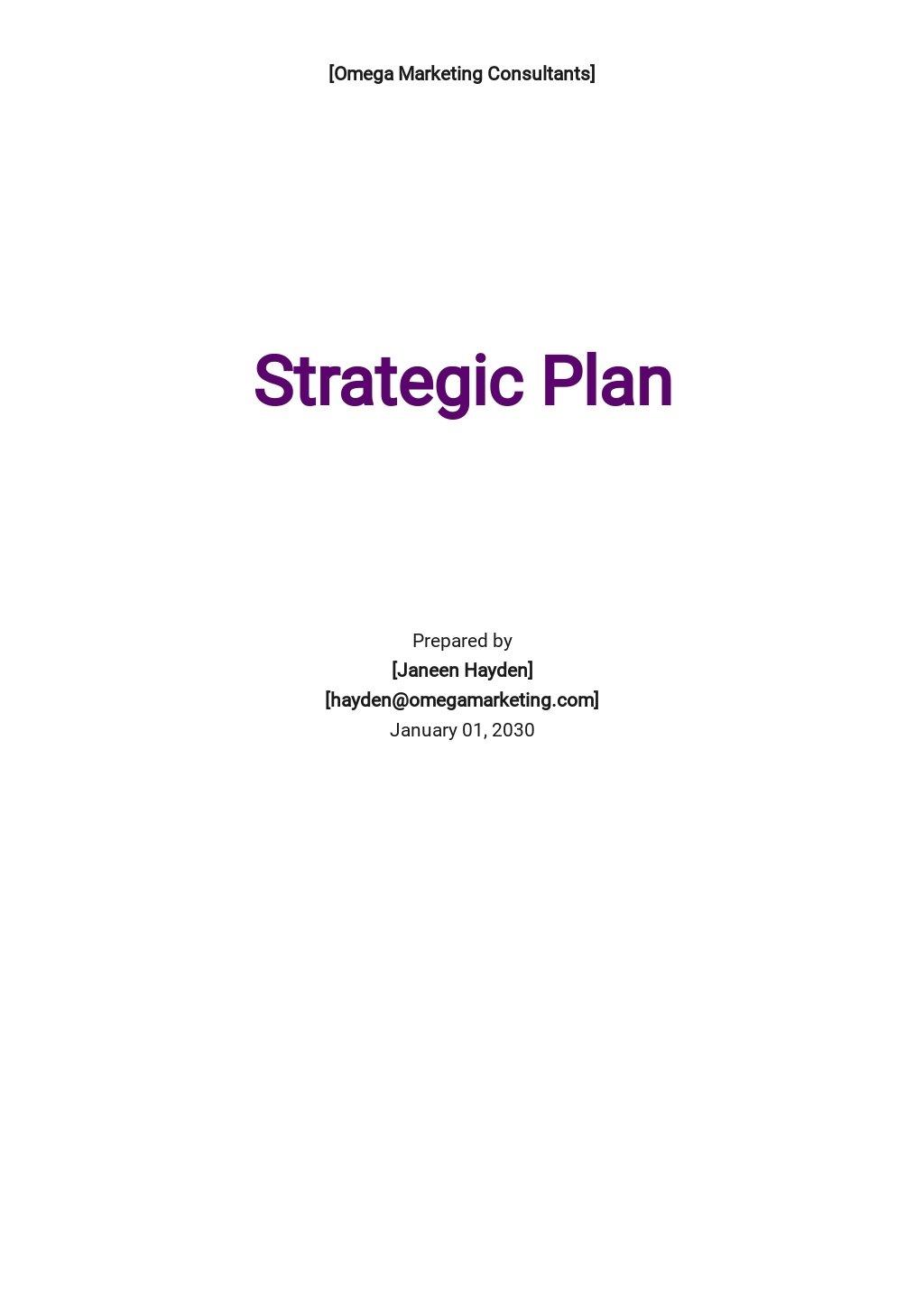 Blank Strategic Plan Template
