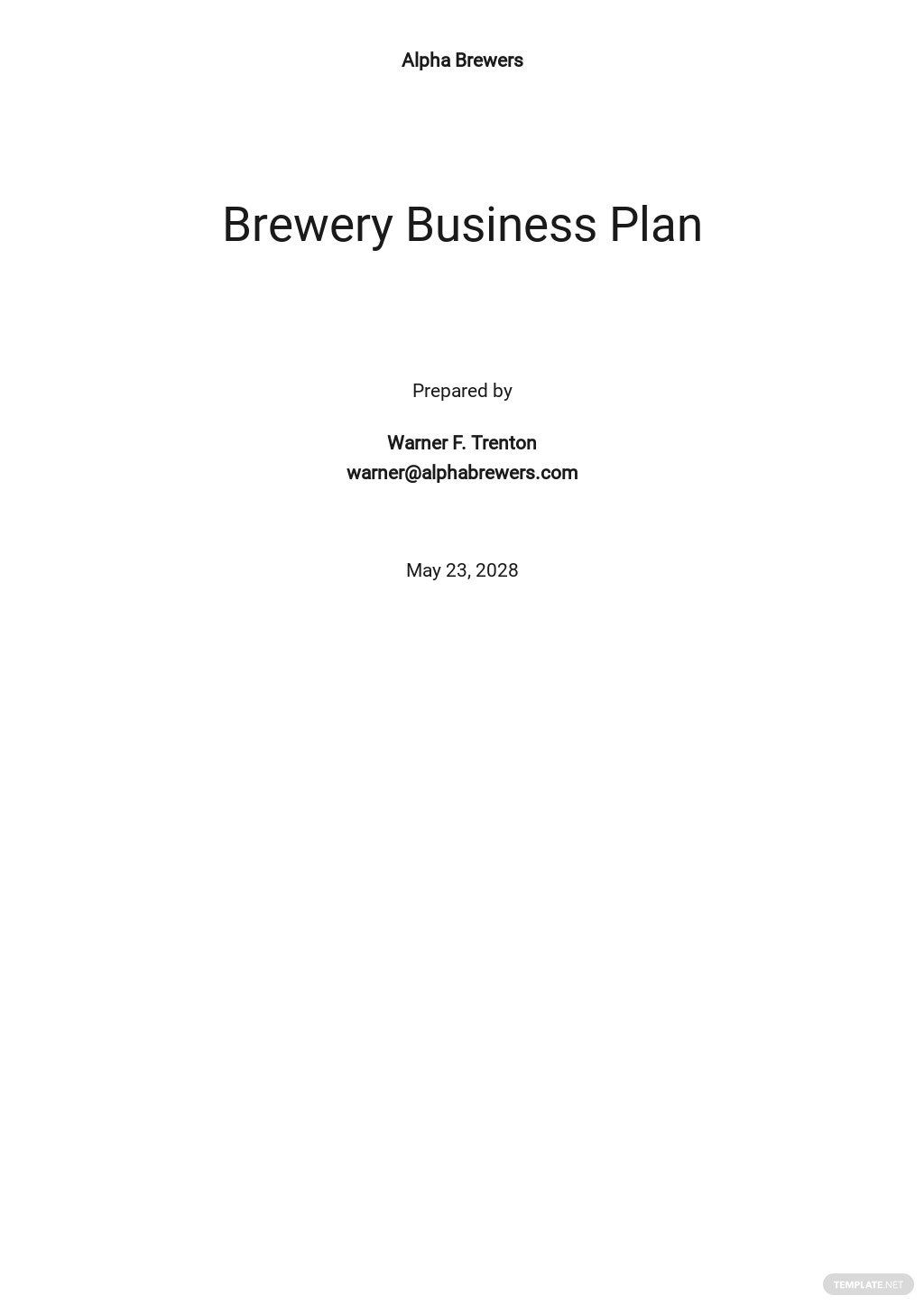 Brewery Business Plan Template