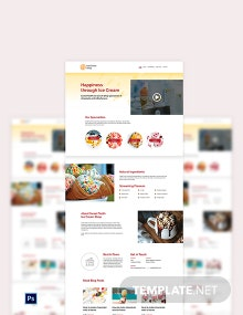 Ice Cream PSD Landing Page Template