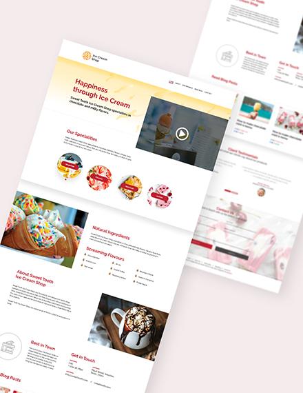 Sample Ice Cream Shop Landing Page