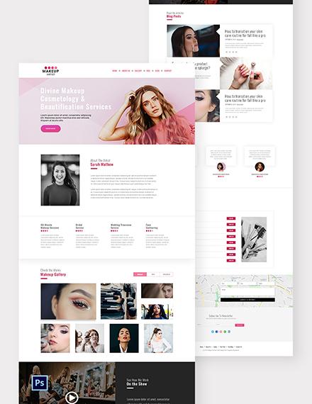 Makeup Artist PSD Landing Page Template