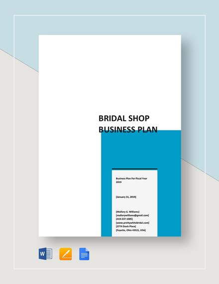 Bridal Shop Business Plan Template