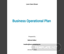 Business Operational Plan Template