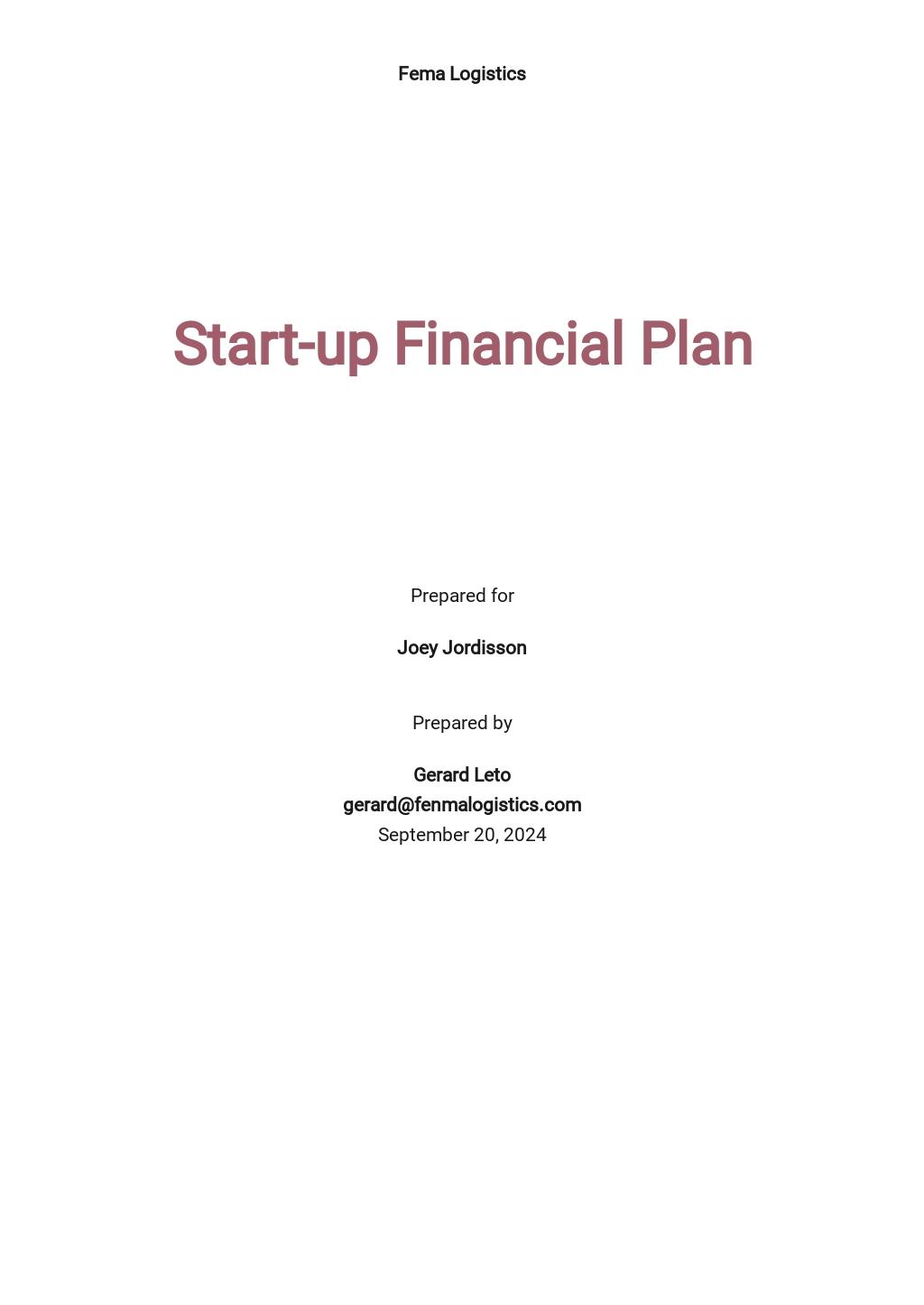 Business Start-Up Project Plan Template