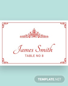 Free Vintage Wedding Place Card Template
