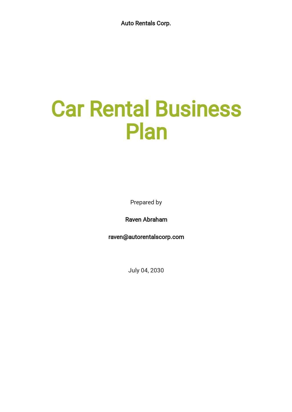 Car Rental Business Plan Template