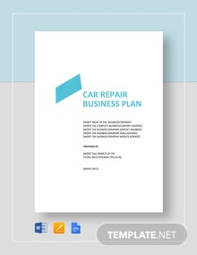 Car Repair Business Plan Template