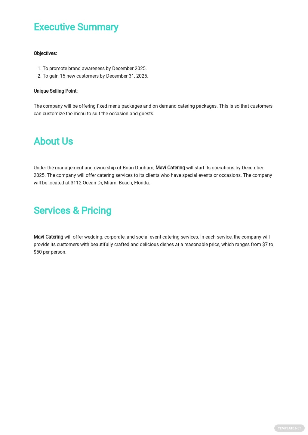 Catering Company Business Plan Template 1.jpe
