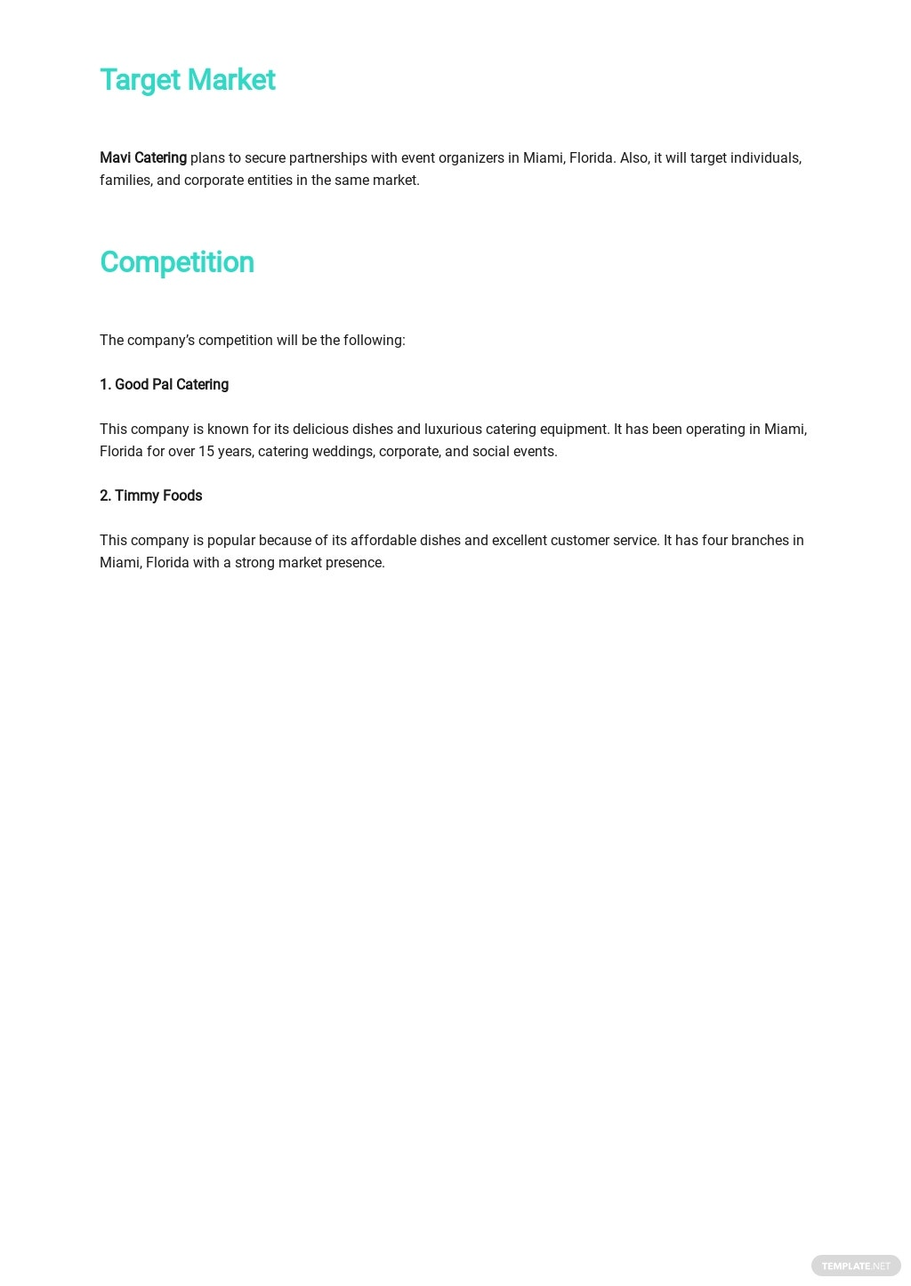 Catering Company Business Plan Template 2.jpe