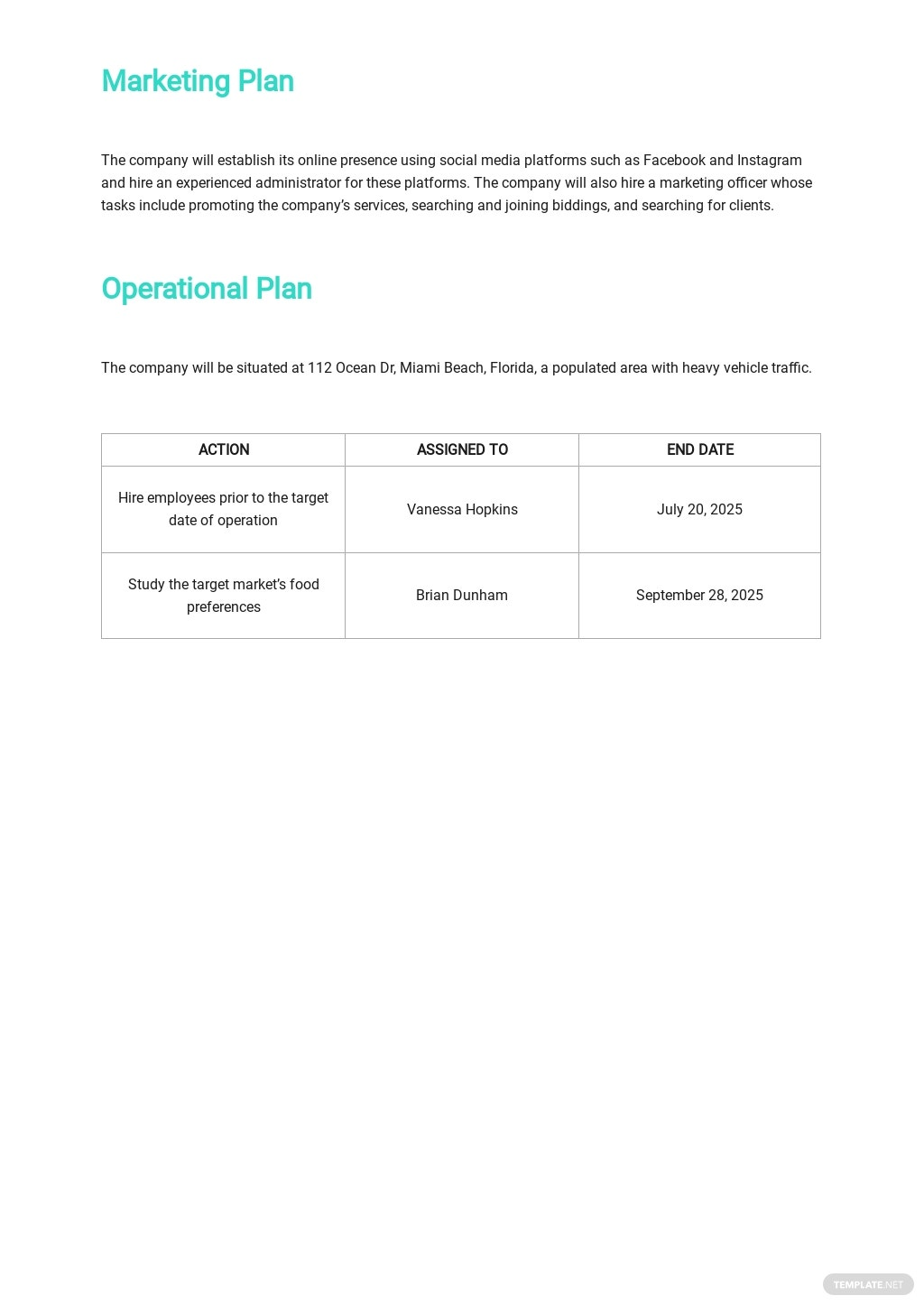 Catering Company Business Plan Template 4.jpe