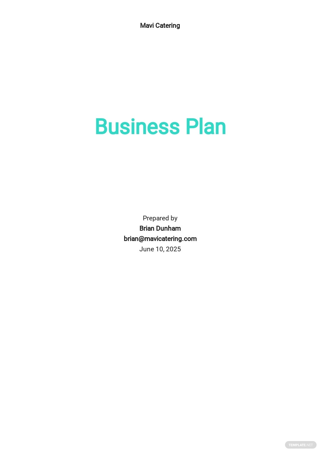 Catering Company Business Plan Template.jpe