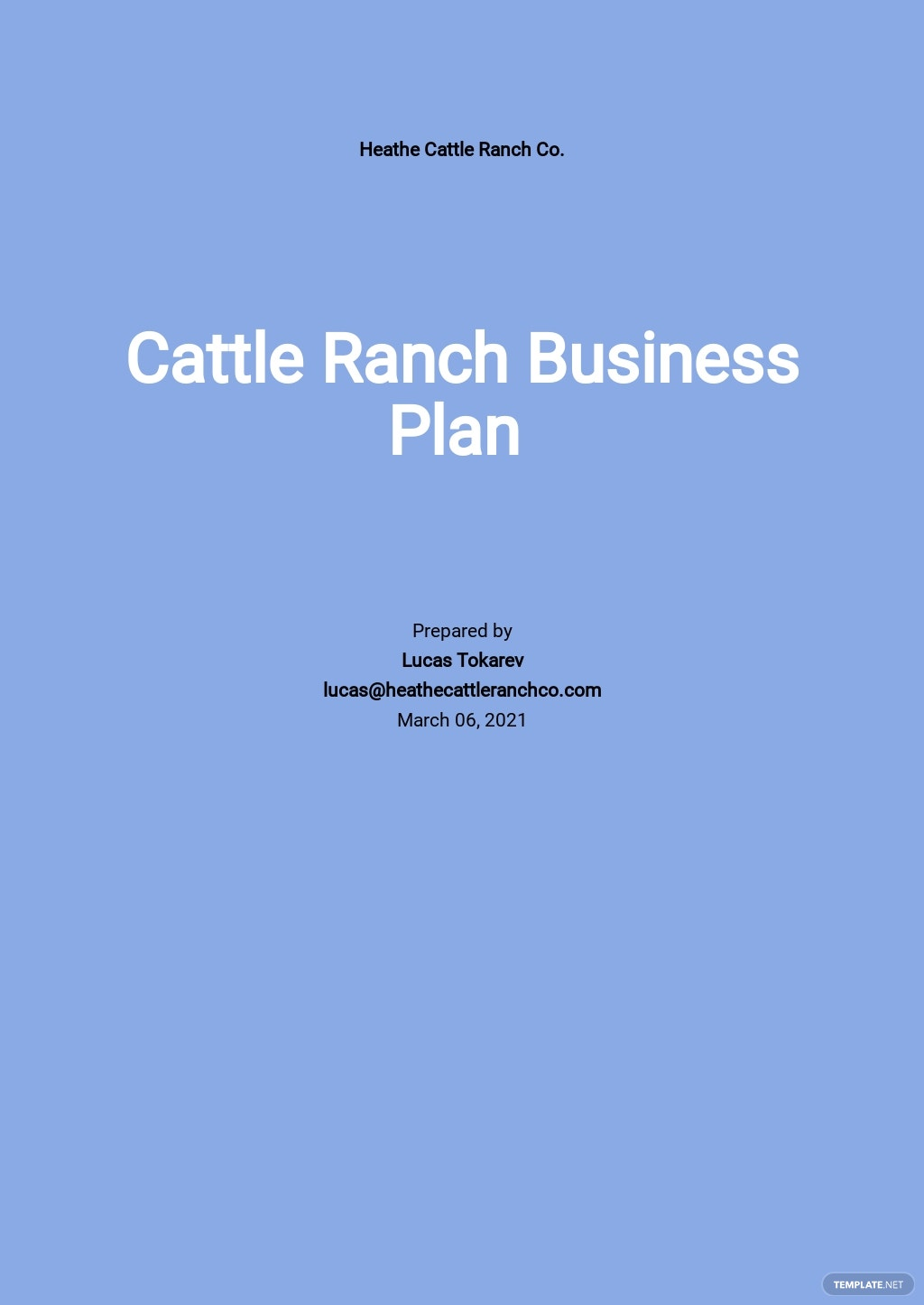 Cattle Ranch Business Plan Template
