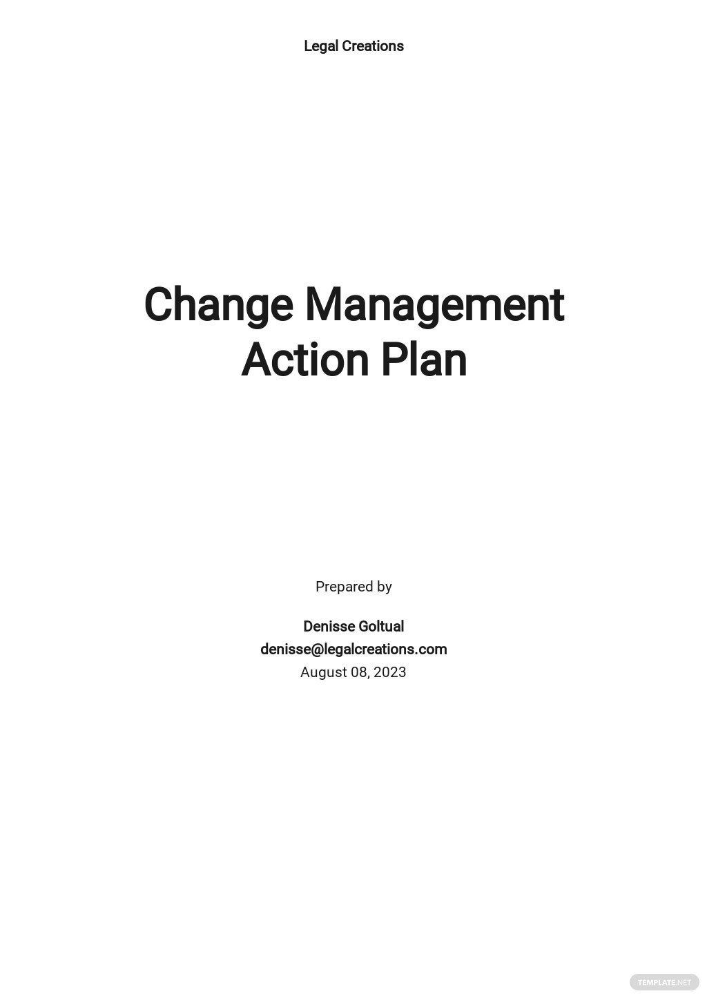 Change Management Action Plan Template