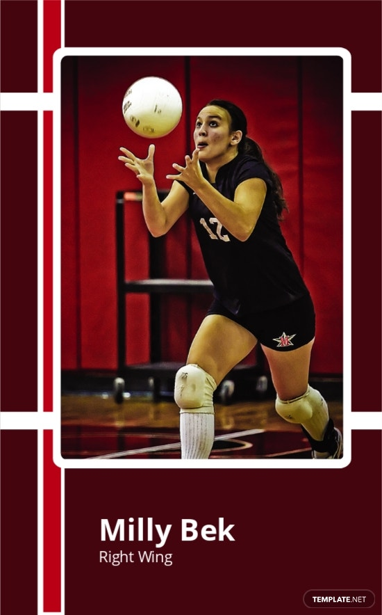 Free Volley Ball Trading Card Template.jpe