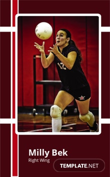 Volley Ball Trading Card Template