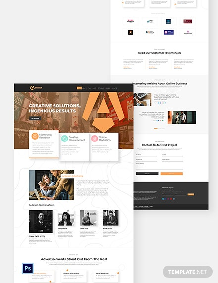 Advertising Agency PSD Landing Page Template