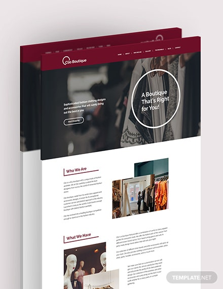 Sample Boutique Landing Page