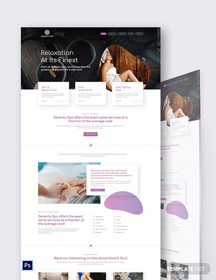 Spa PSD Landing Page Template