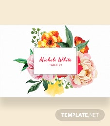 Free Water Color Wedding Place Card Template