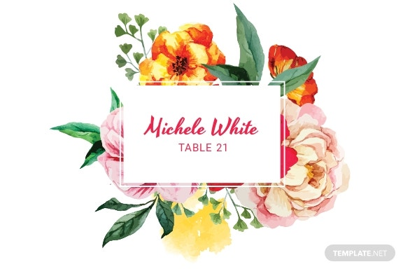 Water Color Wedding Place Card Template