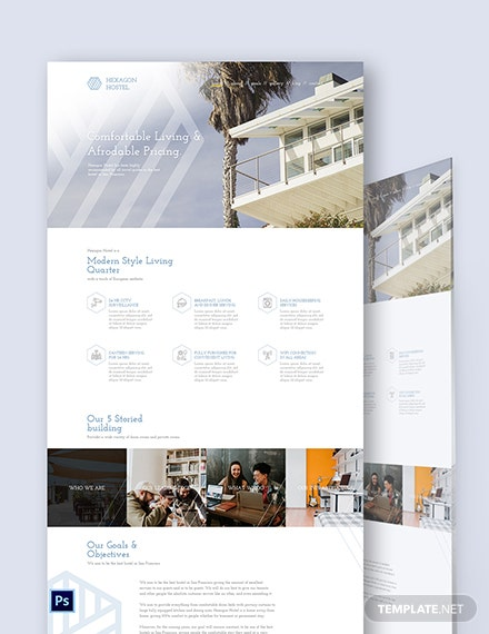 Hostel PSD Landing Page Template