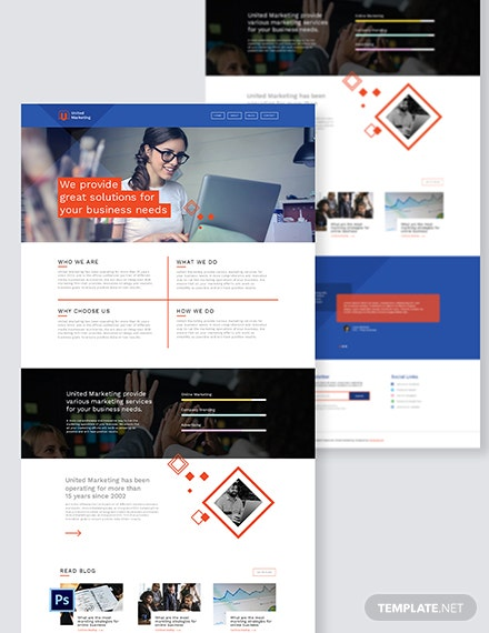 Marketing Firm PSD Landing Page Template