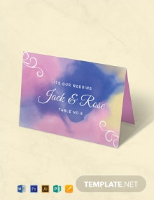 Free Water Color Place Card Template
