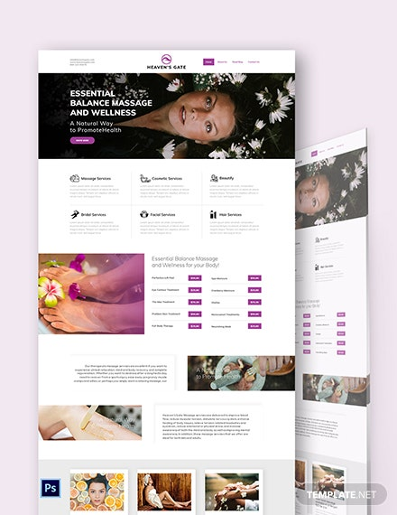 Massage PSD Landing Page Template