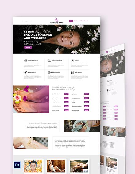 Massage PSD Landing Page Template