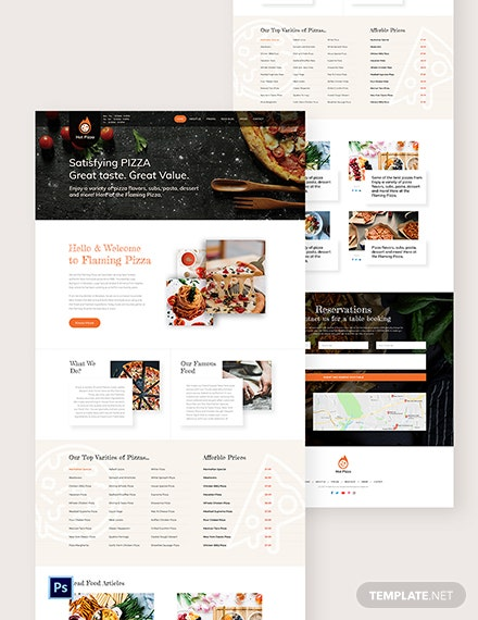 Pizza PSD Landing Page Template