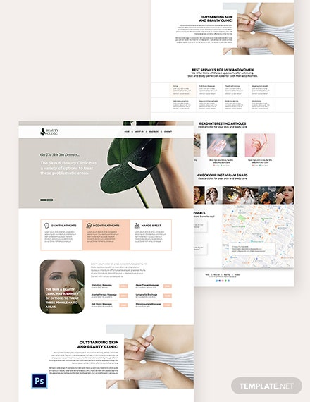 Skin Beauty PSD Landing Page Template